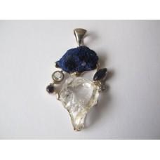 Hanger azuriet, ioliet, witte topaas, bergkristal